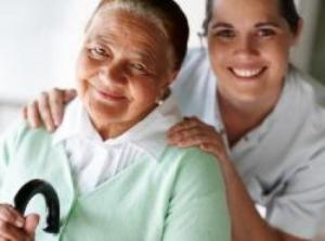 aged care patient with nurse