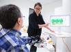 Dr Jooeun Song demonstrates Tyromotion robotic reh