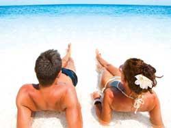 couple lying on the beach