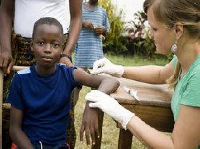 Child receiving immunisation